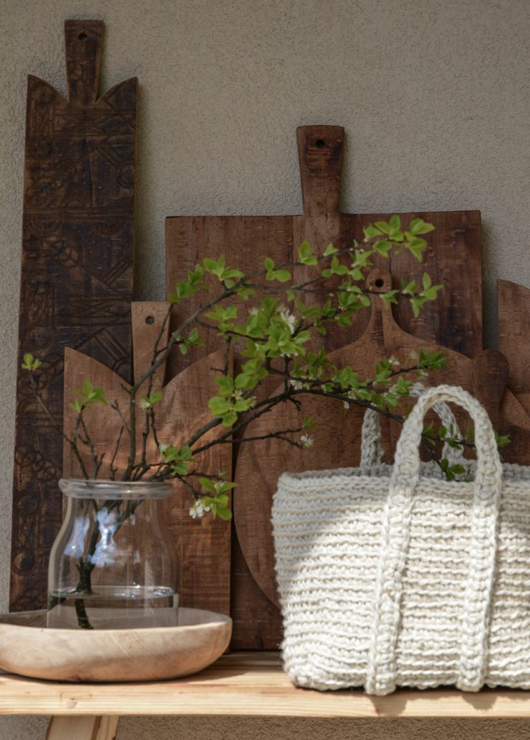 old wood breadboards, M basket & M bowl