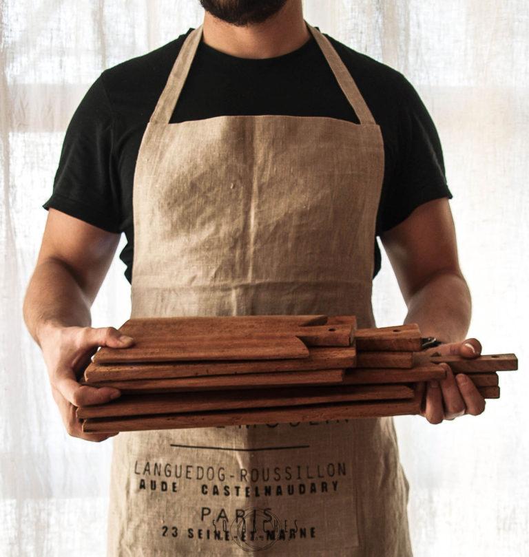 drevené lopáre & ľanová zástera