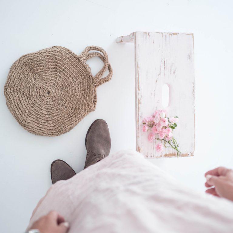 ružové šaty ľanové & okrúhla taška